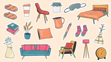 Colorful Hand Drawn Hygge Stickers Collection