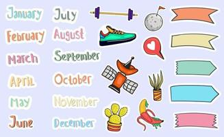 Hand Drawn Monthly Stickers Planner vector