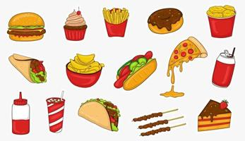 Colorful Hand Drawn Junk Food Stickers Collection vector