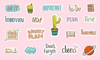 Hand Drawn Daily Stickers Planner vector