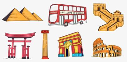 Colorful Hand Drawn World Landmarks Collection vector