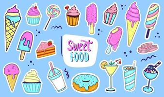 Colorful Hand Drawn Sweet Food Collection vector