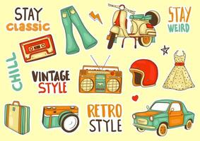 colorful hand drawn classic element  sticker collection vector