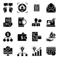 paquete de iconos sólidos de finanzas y datos en línea vector