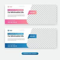 Minimal furniture social media cover template banner vector