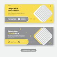 Minimal social media cover furniture template banner vector