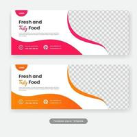 Social media cover food banner template vector