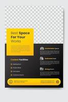 Coworking space flyer banner template vector