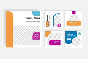 Culinary food social media post template banner vector