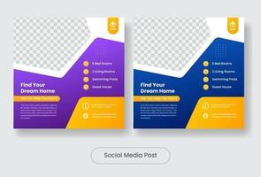 Real estate social media post banner template vector