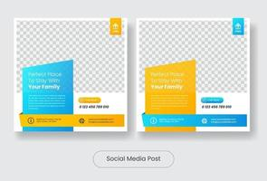 Real estate social media feed banner template post vector