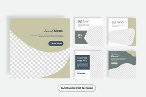 Banner de plantilla de publicación de redes sociales de comida culinaria. vector