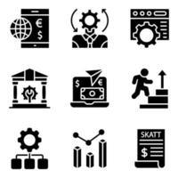 paquete de iconos sólidos de gestión vector