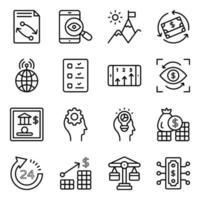 paquete de iconos lineales de negocios y fintech