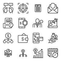 paquete de iconos lineales de finanzas y datos en línea vector