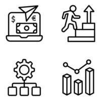 paquete de iconos lineales de datos y negocios vector