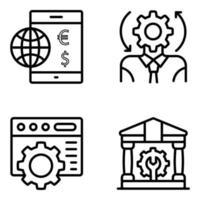 paquete de iconos lineales de gestión vector