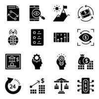 paquete de iconos sólidos de negocios y fintech