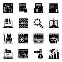 iconos sólidos de análisis y negocios en línea vector