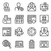 paquete de iconos lineales de finanzas y datos vector