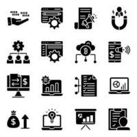 paquete de iconos sólidos de tecnología empresarial vector