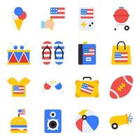 Pack of Party Accessories Flat Icons vector