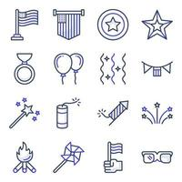 Pack of 4th July Flat Icons vector