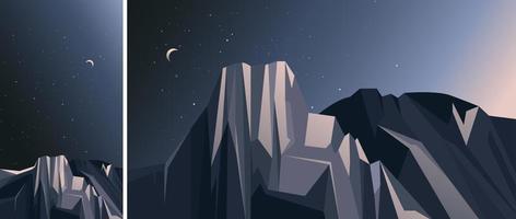 paisaje con montañas y cielo estrellado. vector