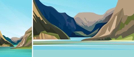 hermoso fiordo escandinavo. vector