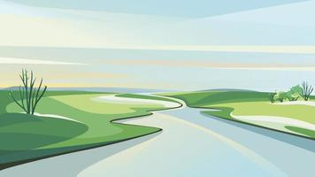 Spring landscape with river at dawn. vector