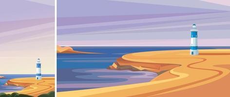 faro junto al mar. Hermoso paisaje en orientación vertical y horizontal. vector