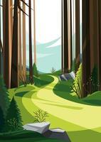 camino en el bosque de la primavera. paisaje primaveral en orientación vertical. vector