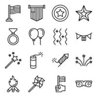 Pack of 4th July Linear Icons vector