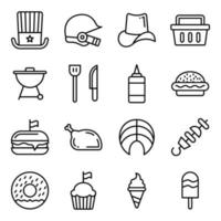 Pack of Independence Day Linear Icons vector