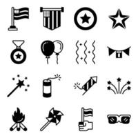 Pack of 4th July Solid Icons vector