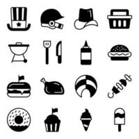 Pack of Independence Day Solid Icons vector