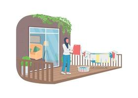 Muslim woman hanging laundry outside flat color vector faceless character