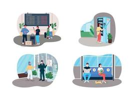 Social covid rules 2D vector web banner, poster set
