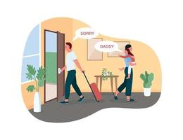 Father leaving wife and child 2D vector web banner, poster