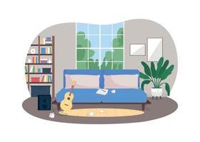 Musician home studio 2D vector web banner, poster