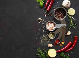 Variety of colorful spices in spoons photo