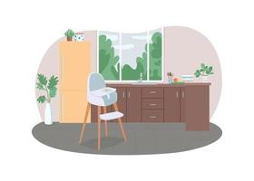 Kitchen with highchair 2D vector web banner, poster