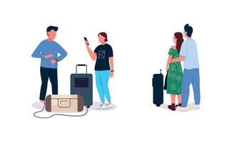 Airplane passengers flat color vector faceless character set