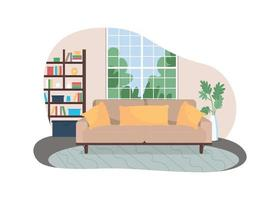 sala de estar 2d vector web banner, cartel
