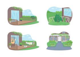 banner web de vector 2d de hogar suburbano al aire libre, conjunto de carteles