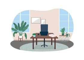 Home office 2D vector web banner, poster