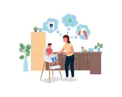 Stressed mother with baby in kitchen flat color vector detailed characters