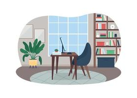 Home workspace 2D vector web banner, poster