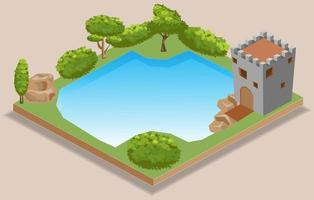 isometric lake Illustration and Icon vector
