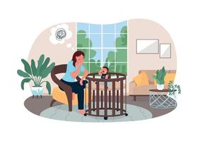 Exhausted mother 2D vector web banner, poster